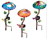 Solar LED Hand Painted Glass and Metal Mushroom Garden Stake Statuary (Set of 3 - Bee, Butterfly and Dragonfly)