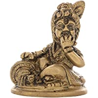 Aone India Brass Lord Bal Krishna / Gopal Idol Statue (4.5 X 4 X 4.5 Cm, Gold) + Cash Envelope (Pack Of 10)