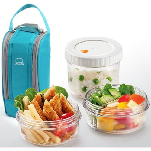 Lock and Lock Round Lunch Box Set with Insulated Bag (Blue)
