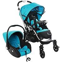 R for Rabbit Travel System - Chocolate Ride - Baby Stroller/Pram + Infant Car seat (Blue Black)