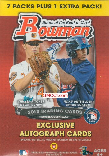 2013 Bowman Baseball Series Factory Sealed Unopened Blaster Box That Contains 8 Packs with 10 Cards Per for a Total of 80 Cards Chance At a Ton of Different Insert Cards Including Autographs Refractors Chrome Prospects Blue bordered Parallels Orange border