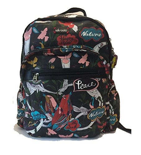 Sakroots Artist Circle Classic Backpack, Black Peace, One Size