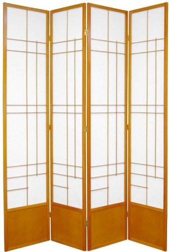 "All Wood Pine Furniture - 84"" Eudes Room Divider Japanese Shoji Folding Screen - Honey 4 Panel"