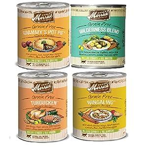 Merrick Grain Free13.2 OzClassic Canned Dog Food Variety Bundle #1 - 4 Flavors (Grammy's Pot Pie, Turducken, Wingaling, Wilderness Blend - 3 of each flavor)