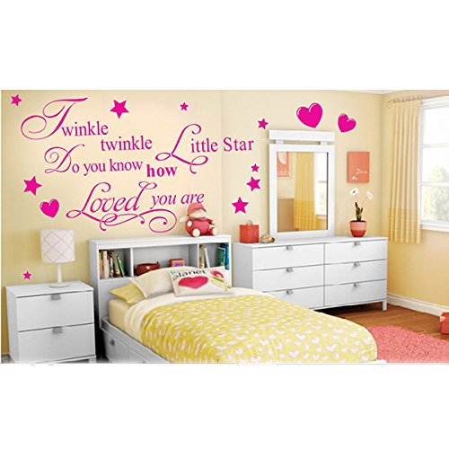 Removable Twinkle Twinkle Little Star Quote Wall Sticker Mural Kids Bedroom Art Decal Diy Home Decor-Pink front-839509