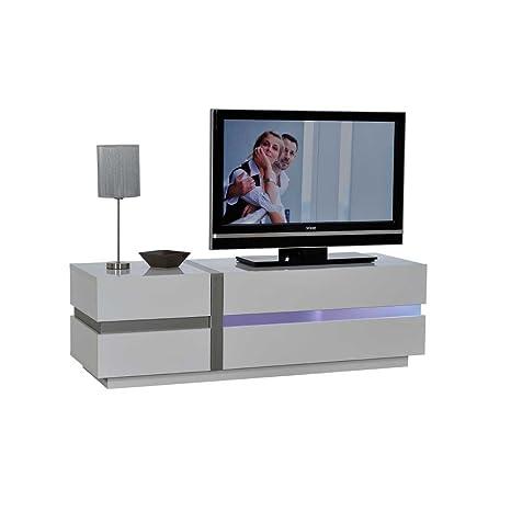 TV Lowboard mit LED Wechsellicht Beleuchtung Weiß Pharao24