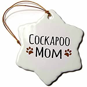 3dRose orn_154101_1 Cockapoo Dog Mom Doggie by Breed Brown Muddy Paw Prints Love Snowflake Porcelain Ornament, 3-Inch