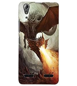 ColourCraft Fire Breathing Dragon Design Back Case Cover for LENOVO A6000