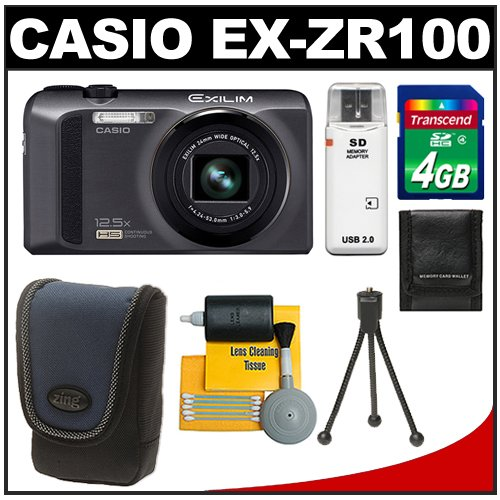Casio Exilim EX-ZR100 High Speed Digital Camera (Black) with 4GB Card + Case + Accessory Kit