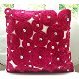 Vintage Joy - 24x24 inches Square Decorative Throw Fuchsia Pink Silk Sham Covers with Satin Ribbon Embroidery