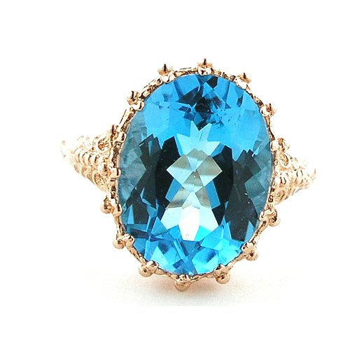 9ct Rose Gold Ladies Blue Topaz Ring - Size Z - Free Delivery - Finger Sizes L to Z Available