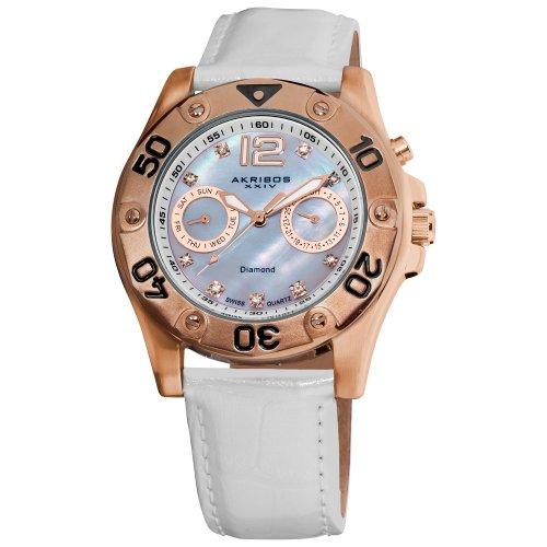 Akribos XXIV Women's AKR483WT Diamond Multi-Function Watch