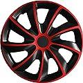 (Farbe und Größe wählbar) 16 Zoll Radkappen QUAD Bicolor (Schwarz-Rot) passend für fast alle Fahrzeugtypen - universell von Eight Tec Handelsagentur auf Reifen Onlineshop