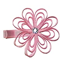 A Girl Company Pink Ribbon Flower Hair Clip
