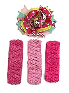 Rush Dance Pink Yellow Hello Cat HairBow Bow+ 3 Baby Headband (4 Pieces)