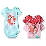 Disney Girls' 3 Pack of Ariel the Little Mermaid Bodysuits, Pink, 3/6 Months