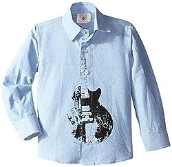 Wes & Willy Little Boys' Guitar Long Sleeve Dress Shirt, Robin, 6
