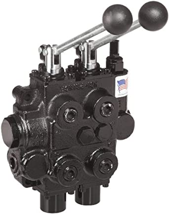 "Prince RD522CCAA5A4B1 Directional Control Valve, Two Spool, 4 Ways, 3 Positions, Tandem Center, Cast Iron, 3000 psi, Lever Handle, 25 gpm, In/Out: 3/4"" NPTF, Work 1/2"" NPTF"
