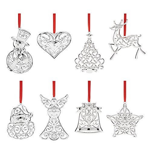 Lenox Sparkle and Scroll Ornament Set of 8 (Lenox Crystal Ornaments compare prices)