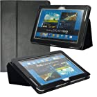 Poetic Slimbook Leather Case for Samsung Galaxy Note 10.1 N8000 N8010 Tablet Black(Intergrated HandStrap)(3 Year Manufacturer Warranty From Poetic)