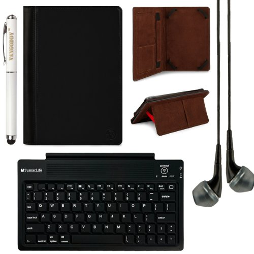 "Mary Self Stand Leather Travel Case For Monster M7 / Toshiba Excite 7C 7"" Tablets + Sumaclife Bluetooth Keyboard + Stylus Pen + Black Headphones (Black)"
