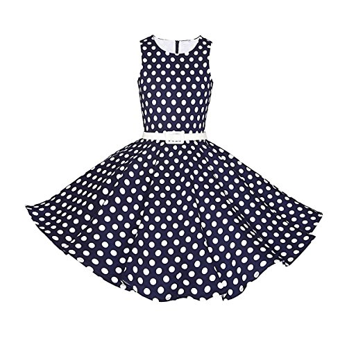 Girls-Classy-Audrey-1950s-Vintage-Rockabilly-Swing-Party-Dress-With-Belt-by-HBB