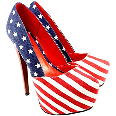 womens american flag high stiletto heel platform court