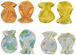 Gerber Unisex-Baby Mittens, Elephant, 0-3 Months (Pack of 4)