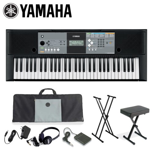 Yamaha KO-PSR-E223-KIT-1 61-Key Portable Keyboard Kit with Keyboard Bench, Gig Bag, Headphones, Stand, Adapter and Sustain Pedal