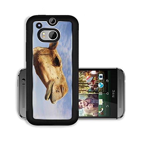 Liili Premium HTC One M8 Aluminum Snap Case A close up view of the head of a dromedary camel against a slightly cloudy sky IMAGE ID 6025115