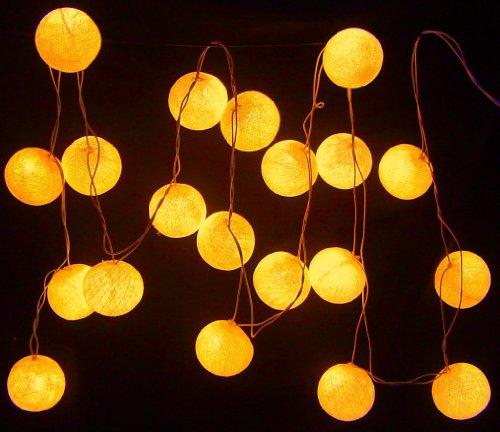 New Solar Powered Led Orange Cotton Ball Lantern Fairy Light String