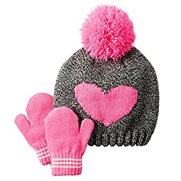 Carter\'s Babv Girls\' Heart Hat & Mitten Set (0-9m, Grey Pink)