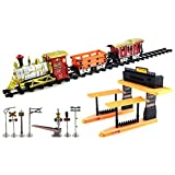Rail King Big Express Battery Operated Toy Train Set W/ 3 Train Cars, 8 Railway Tracks