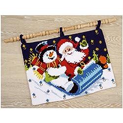 Vervaco - Kit de punto de cruz (diseño de calendario de adviento con muñeco de nieve y Papá Noel, tela impresa)