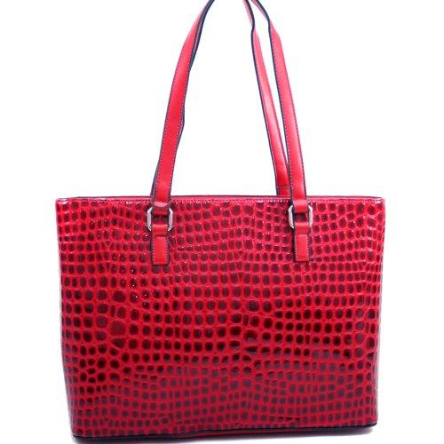 dasein-womens-large-patent-croco-leather-like-chic-fashion-tote-bag-handbag-red