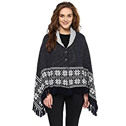 Cayman Navy-blue Reversible Solid Woollen Poncho