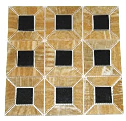 Honey Onyx 3-Dimensional 1x4 Mosaics with Absolute Black Granite Insert 1.75x1.75 Polished Meshed on 12x12 Tiles for Backsplash, Shower Walls, Bathroom Floors