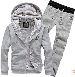 Yonger Men\'s Winter Clothes Plus Velvet Sweatshirt Set Warm Sweater Suit Coat + Pants (Medium, Gray)
