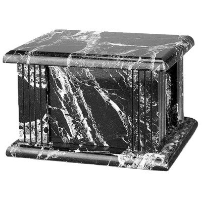 Star Legacy Classic Imported Marble Urn, Ebony/Black with White Grain Pattern, Large/Adult