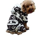 QIYUN.Z Casual Four Legs Black White Velvet Snow Deer Christmas Hoodie Dog Sweater Winter Warm Coat