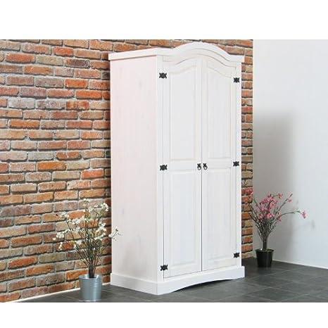 2trg Kleiderschrank New Mexico Mexiko Schlafzimmer-Schrank massiv Kiefer weiß