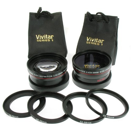 Vivitar Series-1 13-Piece 2-Lens Kit With .43X Wide +2.5X Tele +Macro Fits 46,49,52,55,58Mm