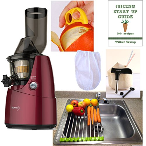 Review Kuvings Whole Slow Juicer RED Pearl Combo Pack 3 + Folding Drain Rack + Nut Milk Bag + Juicin...