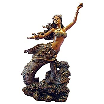 10 Inch Hand Painted Mermaid Holding Pearl Figurine, Bronze