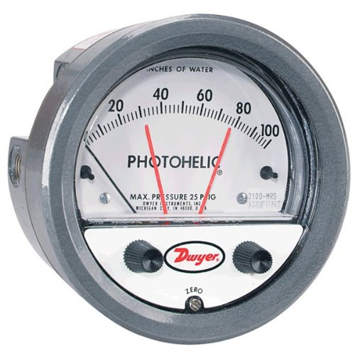 """Dwyer Photohelic Differential Pressure Gage & Switch, 3010MR, 0-10"""" w.c., .20 minor divisions"""
