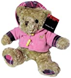 Holiday Light Brown Teddy Bear Plush Stuffed Animal Toy with Pink Fleece Hoodie Jacket - 8.5 Inches Sitting