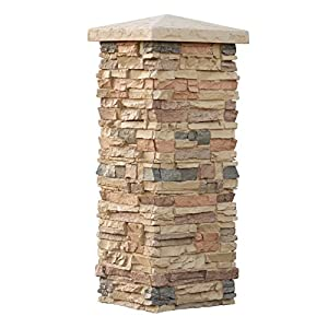 Faux stone column wraps with easy install kit pole wrap post covers