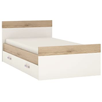 Furniture To Go 4Kids Single Bed with Under Drawer Lilac Handles, Wood, White Gloss/Light Oak