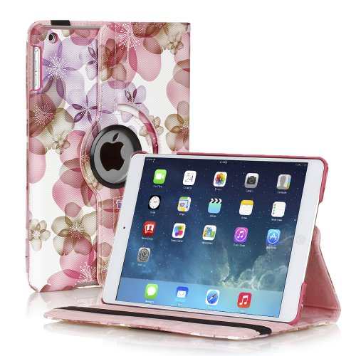 TNP iPad Mini Rotating Case (Floral Pink) 360 Degree Stand Smart Cover Flip Protective PU Leather For iPad Mini 3, iPad Mini 2 & 1, Multi Viewing Angles, Auto Sleep & Wake Feature & Stylus Holder (Cheapest Ipad 1 compare prices)