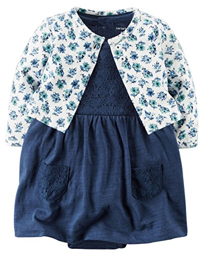 Carter's Baby Girls' 2 Piece Floral Dress Set White Flowers/Navy Lace-3M